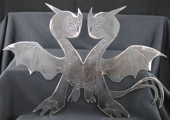 "2 Headed Dragon 11 1/2"", Cartoon Dragon, Metal Dragon, Dragon, Metal Dragon Art, Metal 2 Headed Dragon, Fantasy Art, Metal Fantasy Art, Gift"