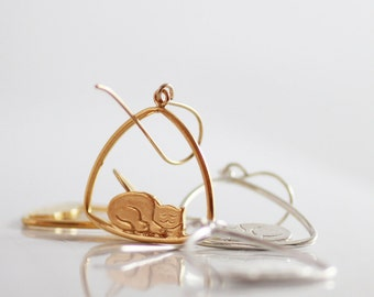 Cat earrings,  Sterling silver earrings, Gold earrings ,  Dangle earrings,   Cat Lover jewelry, Cat resting on a swing,   NICKEL FREE ,