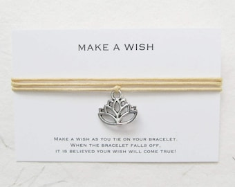Wish bracelet, yoga bracelet, make a wish bracelet, lotus bracelet, W39