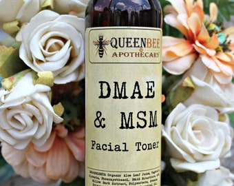 DMAE & MSM Skin Toner with Evening Primose - 90% Organic Content - 8 Ounce