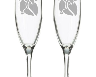Anatomical Heart Champagne Flutes - Science Wedding - Horror Wedding - Biology wedding - Nerdy toasting glasses - Geeky Wedding Gifts -