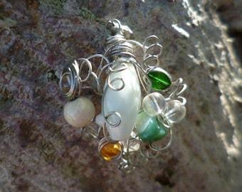 Agate, Jade, glass pendant