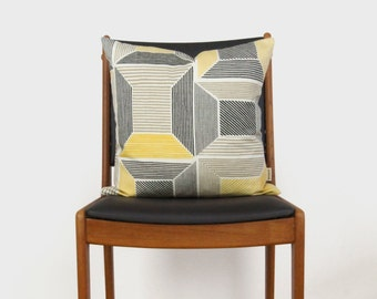 Geometric Decorative Pillow Case in Mustard Yellow, Coffee, Gray, White and Natural | 18x18 / 20x20 Graphic Pattern Cushion Cover