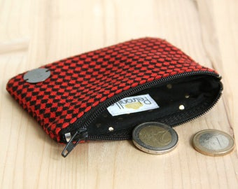 Vintage Fabric Wallet with black red diamonds / Recycled Fabric Women Little pouch / Graphic Rock'n roll Wallet / Christmas Present / PMFT1