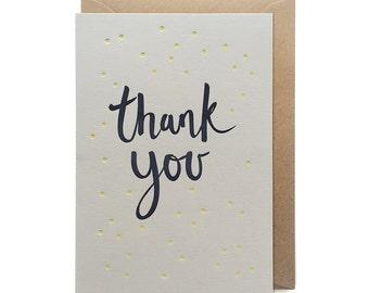 Thank you card, letterpress, handmade - Polka dot thank you