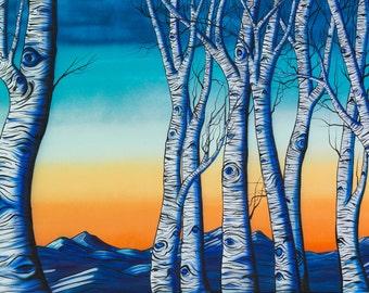 Indigo Aspens - Surreal Landscape Aspen Tree Painting by Mizu - Denver Colorado