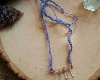Arcanity: Cichorium Necklace - Clear Quartz, Moonstone, copper, textured handspun yarn