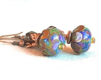 Crystal & Copper Earrings, boho jewelry bohemian earrings copper jewelry purple rainbow earrings drop dangle earrings lamp work glass beads