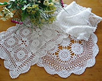 3 Doilies Doily Crocheted Doily White Vintage Doilies  G6