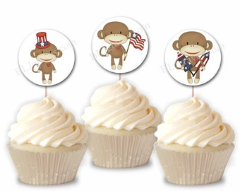 Patriotic July 4th Celebration Party Cupcake Toppers, Sock Monkey Party or Food Picks, Set of 12  CT009