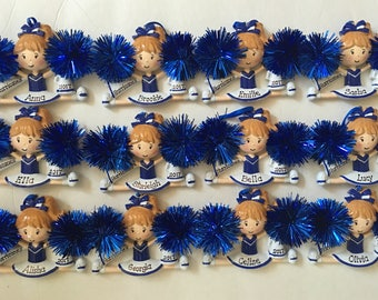 12 Personalized Cheerleader Group Christmas Ornament- Free Personalization