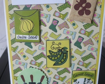 Handmade Birthday Card Wellies Gardening Seeds