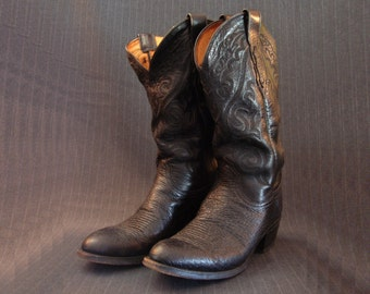 Lucchese 2000 Boots, Lonestar Style, Black [Vintage]
