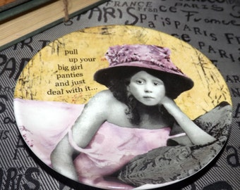 """BLOWOUT! Vintage (c.1996) Erin Smith Art """"Pull up your big girl panties and just deal with it!"""" pin or trinket dish. Too cute!"""