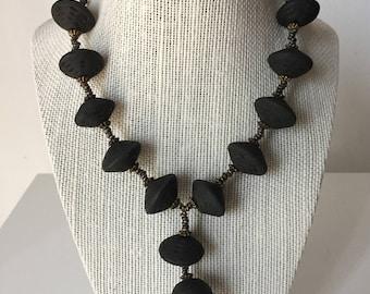 Vintage Black Lava Stone Hand Made Necklace