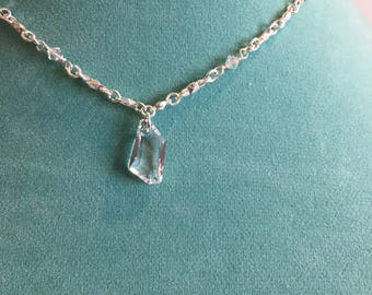 Crystal Pendant Necklace- Silver Hand-Wrapped Chain- Necklace for Girls- Women Choker Necklace- Communion- Baptism Necklace- Gift For Her