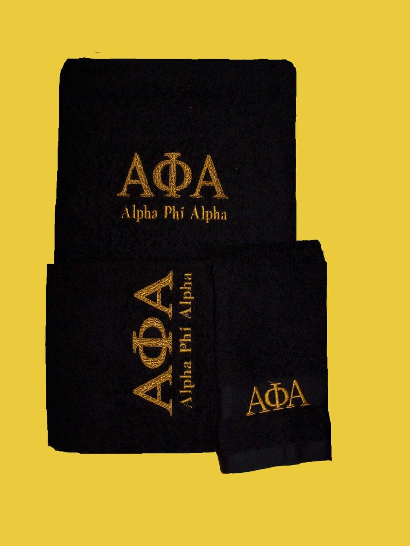 Phi alpha black 3 piece towel set bath hand and wash zoom biocorpaavc Images