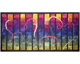 Small Art Quilt, Fabric Wall Hanging, Rainbow Fiber Art, Abstract Art