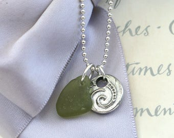 Beach Glass and Pewter charm necklace 18 inch chain included