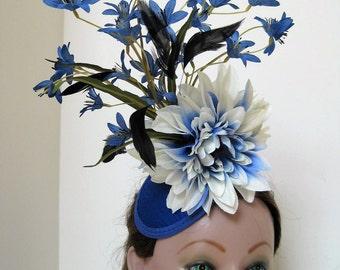 Kentucky Derby Fascinator Hairpiece Royal Blue Swarovski Crystal Double Sided Flowers