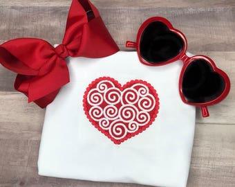 Swirly Heart Valentine Shirt Heart with Swirls