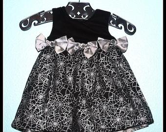 Girls Rockabilly Gothic Dress in Black Velvet and Metallic Spiderwebs ........Size 12 months