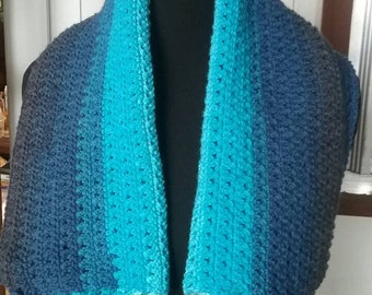 Lovely shawl in shades of blue