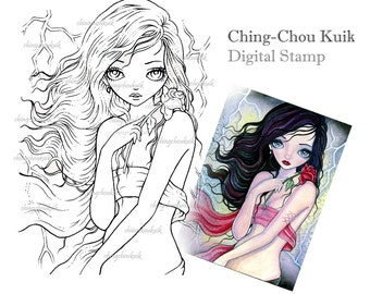 Rose In Storm - Digital Stamp Instant Download / Art by Ching-Chou Kuik