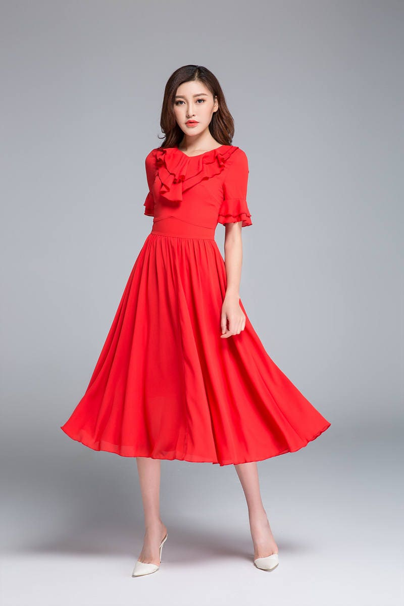 Rüschen Sie chiffon-Kleid rotes Kleid MIDI-Kleid elegantes