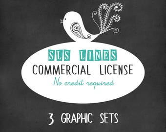 Limited commercial license for no credit required, three clipart sets only, by SLS Lines