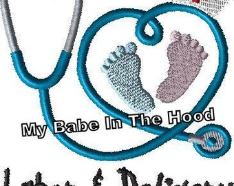"""Labor and Delivery Nurse Stethoscope Embroidery Design Available in 3"""" and 4"""" sizes"""