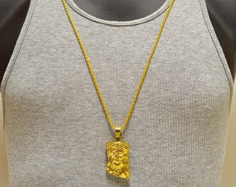 Iced out 14k gold plated large crowned jesus piece pendant iced out 18k gold layered mini jesus piece pendant neck chain 30 god bless aloadofball Choice Image