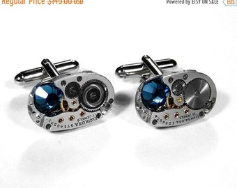 Mens Cufflinks, ELGIN Oval Watch Cuff Links BLUE Swarovski Crystals, Groom, Anniversary, Holiday Gift Men - Steampunk Jewelry by edmdesigns