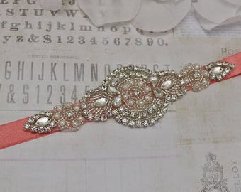 Coral belt, flower girl belt, bridesmaid belt, wedding belt, sash belt, crystal rhinestone belt, dress belt, bridesmaids gift