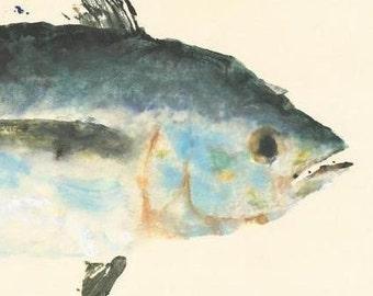Blackfin Tuna - Gyotaku Fish Rubbing - Limited Edition Print (26 x 13)