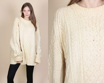 Oversized Cable Knit Sweater // Vintage 70s 80s Cream Wool Pullover Jumper