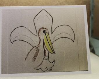 Fleur de lis  and Louisiana Pelican 4 notecards  and 4 envelopes