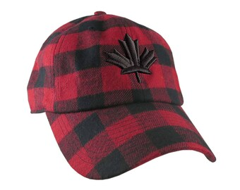 Canadian Black Maple Leaf 3D Puff Embroidery Red and Black Buffalo Check Plaid Soft Structured Fashion Baseball Cap Dad Hat Style Lumberjack