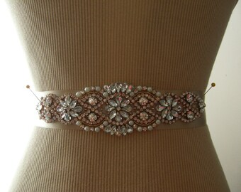Sale, Rose Gold Wedding Belt, Bridal Belt, Bridesmaid Belt, Bridal Sash, Wedding Sash,  Sash Belt, Rose Gold, Crystal Rhinestone & Pearl