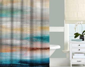 Beach Shower Curtain Ocean Abstract Turquoise Gray Bathroom Decor