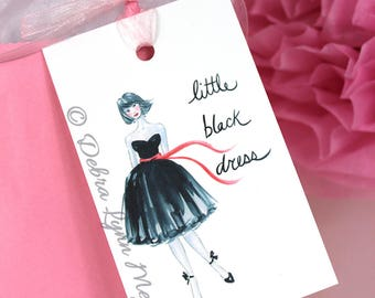 Little Black Dress Gift Tags, Bridal Shower Gift Tags, Party Favor Tags, Handmade Gift Tags, Fashionista Gift, Bridesmaid gift, Fashion Gift