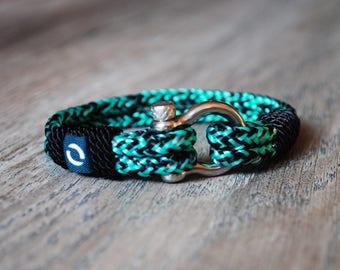 Dark Green Men's Bracelet, Men's Bracelet, Green Bracelet, Black Rope Bracelet, Sport Bracelet,  Men Bracelet, Nautical Bracelet