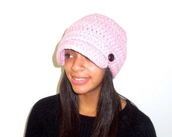 Newsboy Hat, Crochet, Pink, Adult, Women, Teen, Hippie, Urban, Ready To Ship,,
