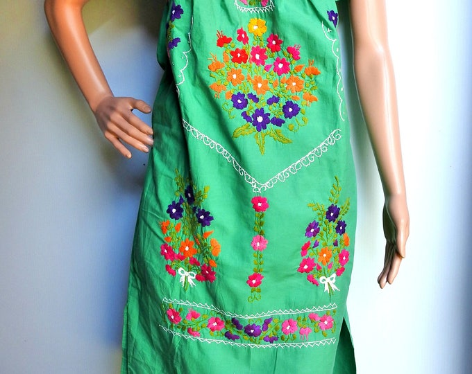 Green peasant dress from Mexico