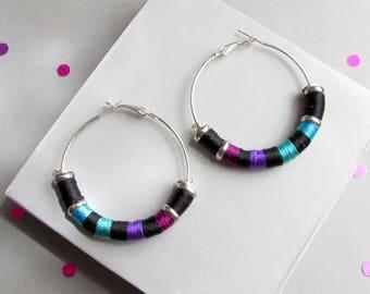 Tribal Rope hoops earrings, Tribal earrings, Hoop earrings, Big hoop earrings, Tribal jewelry