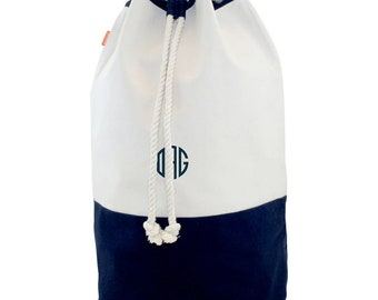 Monogrammed Canvas Laundry Bag Tote College Graduation