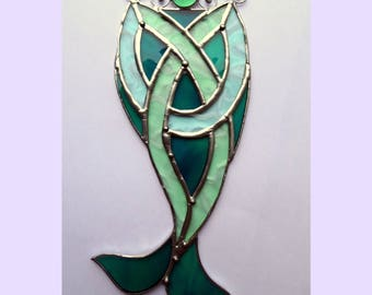 MERMAID Tail Stained Glass Suncatcher Celtic Knot Triquetra