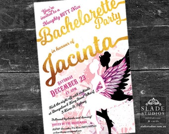 Naughty Butt Nice Bachelorette Party invitations printable. Hens Night gold foil party invitations printable