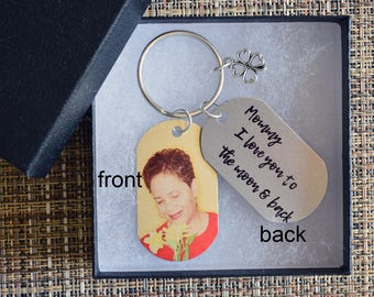 Personalized  Photo Dad Dog Tag Keychain, Custom Photo Tag, Picture Dog Tag, Custom MOM photo keyChain, Personalized gift,