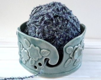 Aqua Pottery Yarn Bowl // Turquoise Handmade Knitting Bowl / Red Yarn Holder // yarn bowl